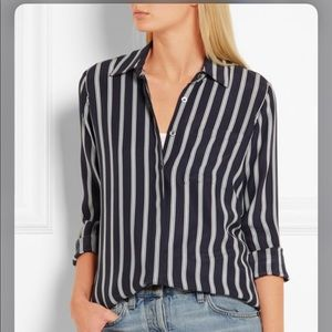 Frame Navy Striped Button Down Silk Blouse!NWOT